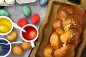 Colored Easter eggs and liquid color dyes — Stockfoto