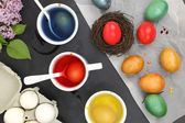 Colored Easter eggs and liquid color dyes — Stock fotografie