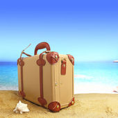 Closed suitcase on tropical beach background — Stok fotoğraf