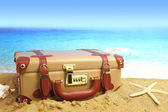 Closed suitcase on beach background — Stok fotoğraf