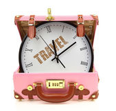 Pink travel suitcase with clock inside isolated on white — Stok fotoğraf