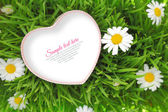 Heart box with copy space on grassy background — Stock Photo