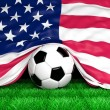 Soccer ball with Usa flag on football field closeup — Stock Photo