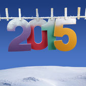 Number 2015 hanging on a clothesline in a wintry background — Stock Photo