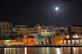Chania city night shot with moonlight  — Stock Photo