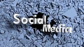 Abstract background with shattered wall and social media text — Stock Photo