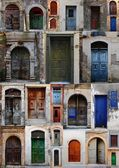 Collection of weathered doors in the old town of Chania, Crete island — Stock Photo