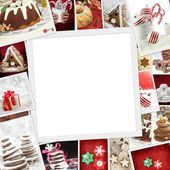 Collection of Christmas photos of confections with copy space — Stock Photo