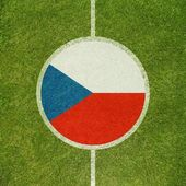 Football field center closeup with Czech republic flag in circle  — Zdjęcie stockowe
