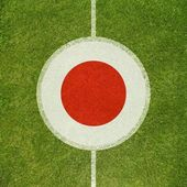 Football field center closeup with Japanese flag in circle  — Zdjęcie stockowe