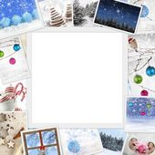 Collection of winter photos with copy space — Stok fotoğraf