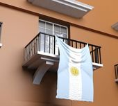 Balcony with Argentinian flag — Stock Photo