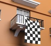 Balcony with flag of Formula one — Foto Stock