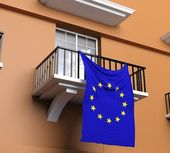 Balcony with flag of European Union — Stock Photo