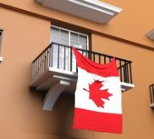 Balkong med kanadensisk flagga — Stockfoto