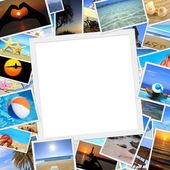 Collection of summer vacation photos with copy space — ストック写真