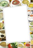 Photos collection of different types of soup with copy space — Stock Photo