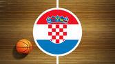 Basketball court parquet floor center with flag of Croatia — Foto de Stock