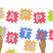 "Hands forming words ""Happy Birthday"" with jigsaw puzzle pieces — Stock Photo #50200697"