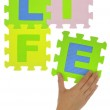 """Hand forming word """"Life"""" with jigsaw puzzle pieces isolated — Stock Photo #50200933"""