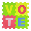 """Hands forming word """"Vote"""" with jigsaw puzzle pieces isolated — Stock Photo #50200987"""