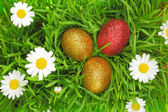 Easter background with grass, flowers and colorful glitter eggs — Stock Photo