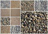 Collage of various sand and pebbles textures  — Photo
