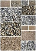Collage of various sand and pebbles textures  — Stock Photo