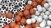 Volleyball, basketball and soccer balls piled  — Stock Photo
