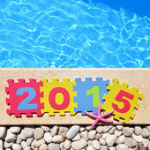 """""""2015"""" by poolside made with jigsaw puzzle pieces — Stock Photo"""