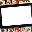 Collage with various winter holidays desert photography and tablet — Stock Photo #51216303
