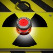 Nuclear warning sign with red button background — Stock Photo #51216787