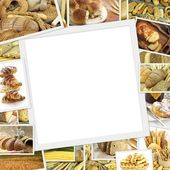 Collage with baked goods and blank frame in the middle  — Stok fotoğraf