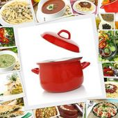 Collage with various dishes and red pot  — Stockfoto