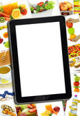 Collage with various healthy food and tablet with blank screen — Stock Photo