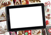 Collage with various winter holidays desert photography and tablet — Stock Photo