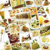 Collage with various pasta dishes — Stok fotoğraf