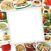 Collage with various dishes and blank frame in the middle  — Stockfoto