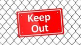 Metal fence with red sign Keep Out isolated  — Stock Photo