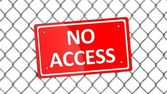 Metal fence with red sign No Access isolated  — Stock Photo