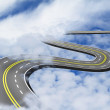 Road up in the blue sky over the clouds — Stock Photo #51770151