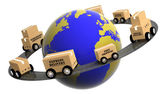 Earth circled by highway with boxes on wheels isolated — Stock Photo