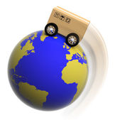 Earth circled with box on wheels isolated on white — Stock Photo