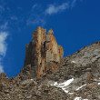 Intricate rocks in Kyrgyz mountains similar to a tower — Stock Photo