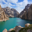 Severe high rocks both amazing high-mountainous lake and the dark blue sky — Stock Photo