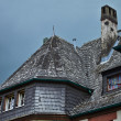 Stock Photo: Roof in Herborn, Germany. Old skylight, roofing tiles, pipe.