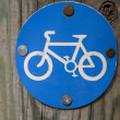 Foto Stock: Blue Bicycle Sign