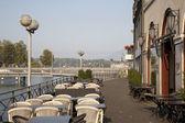 River Rhone Bank in Geneva — Stock Photo
