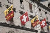 Flags von swiss und waadt, genf — Stockfoto