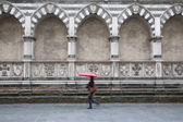 Santa Maria Novella Church, Florence, Italy with Woman Walking — Stock Photo
